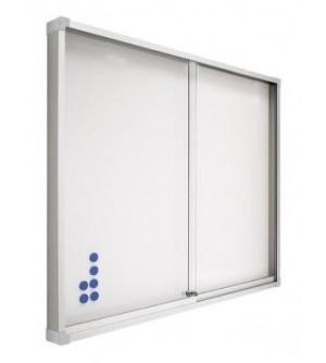 Vitrina de anuncios- Gris magnética con puertas correderas