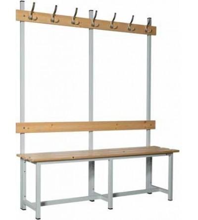 Banco madera con perchero