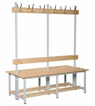 Banco madera doble con perchero
